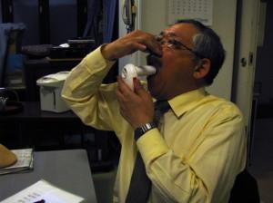 肺年齢測定中