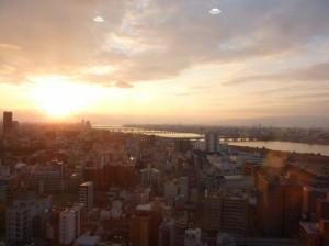夕日と淀川