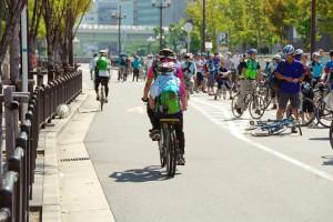 (写真)いつも仲良しT田ご夫婦、タンデム自転車の後ろ姿